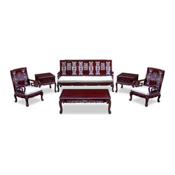"China Furniture and Arts - Rosewood Flower and Bird Motif Design Sofa Set (6 pcs.) - Our living room set of six pieces exhibits the grandioso tradition of the imperial court. Made of solid rosewood and beautifully handcrafted with skillful joinery technique for long lasting durability. The set includes a long sofa (73""Wx26""Dx37""H), two armchairs (26""Wx26""Dx37""H/each), a coffee table (49""Wx19""Dx16""H) and two one-drawer lamp tables (22""Wx22""Dx22""H/each). The imperial atmosphere shows through the intricate flower and bird-carving motif on every item and the tiger-paw design of the feet. Hand applied dark cherry finish enhances the extraordinary beauty and opulence of solid rosewood. Silk cushions included. Please see Fabric Selections for your choice."