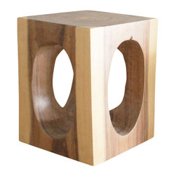 Kammika - Windows Cube Sustainable Wood 16x16x20 inch H End Table w Eco Friendly White Oil - Our Sustainable Monkey Pod wood Windows Cube 16 inch x 16 inch x 20 inch height End Table with Eco Friendly, Natural Food-Safe Livos White Oil Finish has cutouts that expose the inner beauty of the wood. This impressive piece can serve as an end table, display stand, stool, or a serving table or bench when put together After each Monkey Pod wood (Acacia, Koa, Rain Tree grown for wood carving) piece is kiln dried, carved and sanded, it is rubbed in natural non toxic food-safe eco friendly Livos White tone oil that is polished to a matte water resistant and food safe finish. The oil makes the wood turn to a marbleized stone look finish. The light portions of wood turn to shades of beige, and the dark wood lightens to shades of brown with a light transparent white top coat. Some people think it is fossilized stone at first. These natural oils are translucent, so the wood grain detail is highlighted. There is no oily feel and cannot bleed into carpets. Made from the thick branches of the quick-growing Acacia tree in Thailand - where each branch is cut and carved to order (allowing the tree to continue growing), after each eco friendly functional art piece is carved, kiln dried, sanded, and rubbed with Livos oil, they are packaged with cartons from recycled cardboard with no plastic or other fillers. Hand crafted from a sustainable Monkey Pod wood species, we make minimal use of electric hand sanders in the finishing process. All products are dried in solar or propane kilns. No chemicals are used in the process, ever. As this is a natural product, the color and grain of your piece of Nature will be unique, and may include small checks or cracks that occur when the wood is dried. Sizes are approximate. Products could have visible marks from tools used, patches from small repairs, knot holes, natural inclusions or holes. There may be various separations or cracks on your piece when it arrives. There may be some slight variation in size, color, texture, and finish color.Only listed product included.