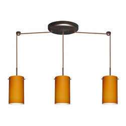 Besa Lighting - Besa Lighting 3BB-440480-HAL Stilo 3 Light Halogen Linear Pendant - Stilo 7 is a classic open-ended cylinder of handcrafted glass, a shape that will stand the test of time. Our Amber Matte glass is a caramel colored cased glass and opal inner layer. The orange glow has a low key harmonious display that exudes a warm mood. When lit the glass is vitalizing as well as stylish. The smooth satin finish on the outer layer is a result of an extensive etching process. This blown glass is handcrafted by a skilled artisan, utilizing century-old techniques passed down from generation to generation. The cord pendant fixture is equipped with three (3) 10' SVT cordsets and a 3-light linear canopy, two (2) suspension stemhooks included.Features: