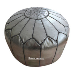 Moroccan Leather Footstool Pouf Silver - UNIQUE Authentic Moroccan Leather Pouf Ottoman footstool