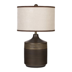 "Signature Design by Ashley - 25"" Set of 2 Karissa Table Lamps Brown - A contemporary upgrade Give your outdated room a little modern makeover with the Karissa Table Lamp. This brown and gold finished ceramic table lamp topped with a faux suede drum shade just might be what your room needs to give it some style and personality."