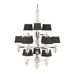 Candice Olson - Cluny Modern Hollywood Regency Brown Crystal 12 Light Chandelier - Introduce some modern glamour into your home with this sophisticated chandelier. Clean lines and geometric shapes blend beautifully with luxurious crystal, chrome and silk to make any space more elegant — effortlessly.