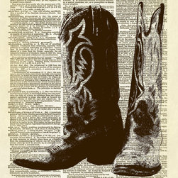 Altered Artichoke - Cowboy Cowgirl Boots Dictionary Art Print, Sepia - This print features our exclusive illustration of a pair of cowboy or cowgirl boots. Don't you just love them?