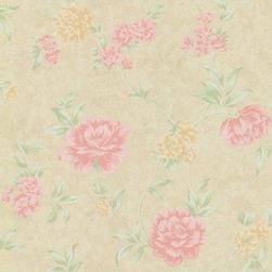 Wallpaper Worldwide - Dream Manor - Floral Wallpaper, Pastels, Beige, Pink, Green - Material: Non-woven.