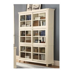 Homelegance - Hanna Barrister Bookcase in White - Barrister Bookcase. Glass panel sliding doors. 3 enclosed shelves are height adjustable. Bun feet. 64 in. W x 16 in. D x 83.5 in. H