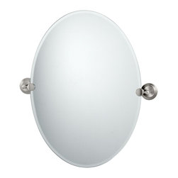 """Lamps Plus - Contemporary Gatco Marina Satin Nickel 26 1/2"""" High Tilt Wall Mirror - An excellent addition to a bathroom sink or vanity this oval mirror design has a beveled edge and comes with solid brass mounting brackets in a satin nickel finish. Tilting wall mirror. Satin nickel finish. Solid brass mounting brackets. Beveled oval mirror. Mirror glass only is 26 1/2"""" high 19 1/2"""" wide. 26 1/2"""" high. 24"""" wide. 2 1/2"""" deep.  Tilting wall mirror.  Satin nickel finish.   Solid brass mounting brackets.   Beveled oval mirror.   Mirror glass only is 26 1/2"""" high 19 1/2"""" wide.  26 1/2"""" high.   24"""" wide.   2 1/2"""" deep.  Weighs 11 lbs."""