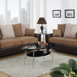 Saddle Microfiber Leather Sofa Couch Loveseat Living Room Pillow Back - Embedded by a smooth espresso bonded leather block structured frame, this sofa set features large plush pillow back supports and seating covered in a deep rich microfiber with vibrant accent pillows.