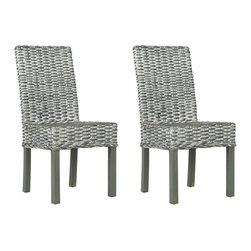 Safavieh - Safavieh Wheatley Side Chair in Grey White Wash, Set of 2 - Rattan gets a contemporary twist in the Wheatley side chair thanks to its silvery shade. The Parsons-style Wheatley fuses rattan in a grey whitewash finish with sustainable mango wood for fresh effect. What's included: Side Chair (can only be purchased in sets of 2).