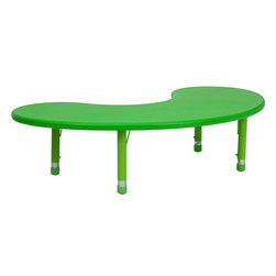 Flash Furniture - Flash Furniture 35 x 65 Height Adjustable Half-Moon Green Plastic Activity Table - Kids activity tables are excellent for early childhood development. The primary colors make learning and play time exciting when several colors are arranged in the classroom. This durable table features a plastic top with steel welding underneath along with adjustable steel legs that is sure to last throughout the years. [YU-YCX-004-2-MOON-TBL-GREEN-GG]