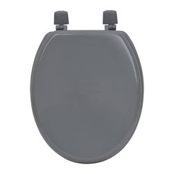MDF Toilet Seat Grey Elongated - This toilet seat is in medium-density fiberboard (MDF). This standard size toilet seat has adjustable color coordinated plastic hinges (3 positions) and is easy to install with the included hardware. Comfortable with its 4 bumpers, it fits standard toilet bowls. Assembly instructions are supplied. Clean with warm soapy water. Length 17.13-Inch (max 17.56-Inch) and width 14.75-Inch. Color grey. Give a decorative touch to your bathroom with this colored toilet seat! Complete your decoration with other products of the same collection. Imported.