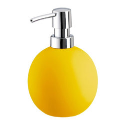 Colorful Round Non Skid Countertop Soap Dispenser - 15oz, Yellow - Colorful round non skid countertop soap dispenser is perfect for any bathroom or even next to the kitchen sink. Beautiful porcelain soap dispenser with a grippy non slip coating holds 15oz of lotion or soap with a shiny chrome pump. Made in Germany.