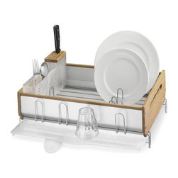 simplehuman™ Bamboo-Trim Dish Rack - This large dish rack boasts natural bamboo and a panel of aluminum to give it strength and durability. The smart design includes a knife drying block and a double-compartment utensil holder.