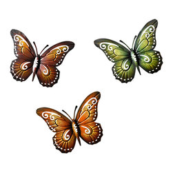 Pier Surplus - Colored Metal Butterfly Wall Decor - Set of Three Butterflies Wall Art #HD229085 - This colorful set of three butterflies has been masterfully crafted from metal and varnished to give it long-lasting color. Each delicate wing has been painted by hand, giving the perception of three graceful creatures that have set down to rest on your wall. Each metal butterfly is easy to maintain; simply wipe off dirt or dust with a mild soap and a damp cloth. A wonderful hostess or housewarming gift!