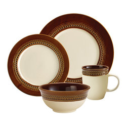 Paula Deen - Paula Deen Chestnut Southern Gathering 4-piece Dinnerware Set - Bring a vintage feel to your table with this Paula Deen dinnerware set. Featuring a wide brown rim design with an antique look,this place setting is perfect for special occasions. It includes one dinner plate,one salad plate,one mug,and one bowl.