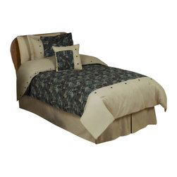 Sweet Jojo Designs - Green Camouflage Children's Bedding Set Twin (4-Piece) - The Green Camouflage Queen bedding set by Sweet Jojo Designs will help you create an incredible room for your child. This modern camouflage boy bedding set uses an army themed camo print and is adorned with appliqued and embroidered stars. This collection uses the stylish colors of Green, brown, Olive Green and camel. The design uses 100% cotton fabrics that are machine washable for easy care. The Green camouflage twin bedding set is a 4-piece set that comes with a comforter, bed skirt, pillow sham, and decorative pillow. The Green Camouflage Queen bedding set is a 3-piece set that comes with a comforter and 2 pillow shams.
