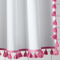 Serena & Lily - Tassel Shower Curtain  Juice - It's the little details that we love the most. Pure white cotton canvas gets a trim of playful tassels along the sides and bottom of each curtain in juice pink.