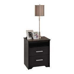 """Prepac - Prepac Coal Harbor Black 21 Inch Tall 2-Drawer Nightstand with Open Shelf - Make your nightstand do more with the modern coal harbor 2 drawer tall nightstand. With two full-sized drawers primed for storing all your sundries, this bedside table also offers you a 5"""" high open shelf for those items you don't want totally hidden away. Pile your books, reading glasses, lamp, alarm clock and your usual items on top, all without compromising your bedroom's chic urban style. Combine it with other items in the coal harbor bedroom collection for a complete look!"""