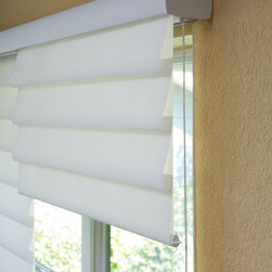 Vignette® Roman Shades with Easyrise Continuous Cord Loop - Hunter Douglas Vignette Roman Shades have multiple different cord operations available. This particular shade is on an Easyrise Continuous Cord Loop.
