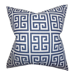 "The Pillow Collection - Paros Greek Key Pillow Navy Blue 18"" x 18"" - This simple yet striking accent pillow is expertly designed to create a touch of modern vibe to your home. This throw pillow features a classic Greek key pattern in shades of white and blue. This 18"" pillow is a lovely statement piece to add in your living room, bedroom or office. Ideal for indoor use, this toss pillow is made of 100% soft cotton fabric."