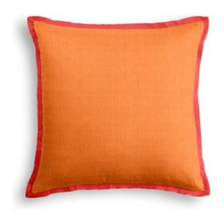 Bright Orange Faux Linen Custom Outdoor Pillow - Crisp, cool, classic! the sophisticated contemporary edging and clean lines of the Tailored Outdoor Pillow will make your outdoor space the definition of summer chic.  We love it in this super soft (yes, we're serious!) bright orange faux linen.  So comfy it works indoors and out.