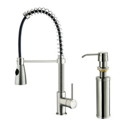 "Vigo - Vigo VG02003STK2 Stainless Steel Kitchen Faucets Kitchen Faucet Single - Kitchen Faucet Single Handle with Pull-Out Spray and Soap Dispenser 18.75"" Height  Make a statement in your kitchen by adding this Vigo faucet with matching soap dispenser. Both stylish and functional, there is sure to be a Vigo kitchen faucet to meet your needs. Featuring solid brass construction and high quality components, your Vigo faucet will stand the test of time.  Vigo Vg02003k2 Includes:    Pullout spray kitchen faucet  All mounting hardware  Hot and cold water lines  Soap dispenser    Vigo Vg02003k2 Faucet Features:    Solid brass construction which ensures durability and longer life  Dual pullout spray head featuring aerated flow or powerful spray  Easy to clean pullout spray face  Unique finishing process resists corrosion and tarnishing, exceeding industry durability standards  High-quality ceramic disc cartridge ensures maintenance-free use  360-degree swivel spout  Retractable spout expandable up to 30""  Single-hole installation  Single lever water and temperature control  Water pressure tested for industry standard  Soap/Lotion Dispenser  2.2 GPM flow rate  Limited Lifetime Warranty    Vigo Vg02003k2 Faucet Specifications:    Spout height: 18.75""  Spout reach: 9.75""  2.2 GPM Flow Rate  Includes Soap/Lotion dispenser    Vigo Vg02003k2 Faucet Certifications:    UPC, cUPC, CSA, IAPMO, ANSI and SCC Listed  ADA Compliant  Alternate Configurations of the Vg02003k2:    Vg02003: This model has no deck plate or soap dispenser  Vg02003K1: This model includes deck plate  Kitchen Combos: For Vigo kitchen sink and faucet combos that include this kitchen faucet search: Vg02003 Combo"