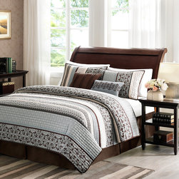 Madison Park - Madison Park Harvard 5-piece Coverlet Set - To add a touch of richness to current decor,the Harvard Coverlet Set can update the room in seconds. The coverlet and shams share leaf,striping and medallion motifs that are accentuated by channel stitching on a chocolate brown base.