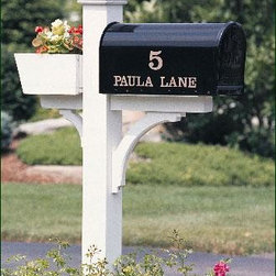 """Madison Mail Post - The flower box is a cheery addition. 5 1/2"""" sq. post. Crafted in cellular vinyl."""