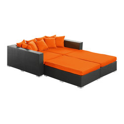 LexMod - Palisades Outdoor Wicker Patio Daybed 4 Piece Set in Espresso with Orange Cushio - Rejoice in the splendor of a completely formed outdoor bedding environment. View from afar as you silently take in the sights and sounds around you for proper effect. Make your initial movements toward transformation with this splendid flowing piece of absolution and resolve.