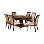 """Steve Silver Furniture - Steve Silver Marseille 7-Piece Pedestal Dining Room Set in Dark Rich Cherry - The Marseille collection provides a perfect solution to transitional dining with clean, classic, well scaled lines. The Marseille pedestal dining table features a rich, dark cherry finish with detailed molding, and a striking column base. The table measures 52"""" round by 30""""H and with the 18"""" leaf inserted measures 52""""W x 70""""L. You can comfortably seat six with the addition of the Marseille side chairs."""