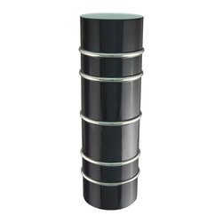 Maison Alma - Arienne Cylinder Vase, Black & Platinum - Book the reception hall. You'll love this vase so much you'll want to put a ring on it. A tall cylinder of Limoges porcelain features hand-applied 24-karat gold or platinum bands for extra special sparkle and luxury. Perfect for yourself or the married couple.