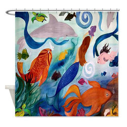 usa - Tropical Fish And Mermaid Shower Curtain - Beautiful shower curtains created from my original art work. Each curtain is made of a thick water resistant polyester fabric. The permanently applied art work appears on the front side with the inside being white. 12 button holes for easy hanging, machine washable and most importantly made in the USA. Shower rod and rings not included. Size is a standard 70''x70''