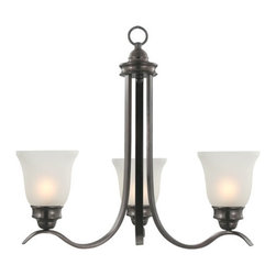 Sanibel Chandelier - Incandescent - Three Lights - Oil Rubbed Bronze - Add a unique style to your home with the Sanibel Chandelier. It features a beautifully designed structure with three frosted glass shades.