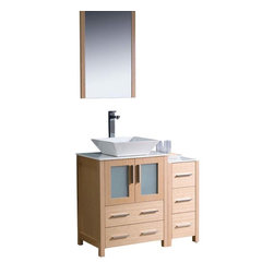 "Fresca - Fresca Torino 36"" Modern Bathroom Vanity w/ One Side Cabinet & Vessel Sink - Lig - Fresca is pleased to usher in a new age of customization with the introduction of its Torino line. The frosted glass panels of the doors balance out the sleek and modern lines of Torino, making it fit perfectly in either Town or Country dcor."