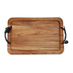 Michael Aram 'Fig Leaf' Carving Board - Dark bronze handles resembling fig leaves define a striking wood tray. Color(s): acacia wood. Brand: MICHAEL ARAM. Style Name: Michael Aram 'Fig Leaf' Carving Board. Style Number: 306928.