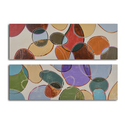 Colored cells at play Hand Painted 2 Piece Canvas Set - Go for a bold pop of color and design with this pair of original paintings. Displayed together over your fireplace or above a bureau, they make a playful statement. Pull one or two colors from the palette to help accent the rest of your room for a modern look and feel.