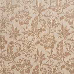 Beige Two Toned Floral Metallic Sheen Upholstery Fabric By The Yard - This multipurpose fabric is great for residential upholstery, bedding and drapery. This material is woven for enhanced elegance. The sheen of this material varies depending on the light for a unique appearance.