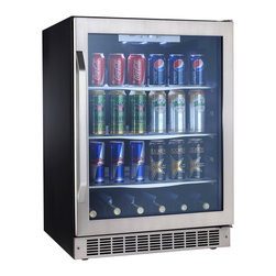 Danby - 5.3 CuFt Built-In Beverage Ctr, 11 wine bottles, 112 bev cans Silhouette - The Danby DBC162BLSST 5.3 Cu. Ft. Silhouette Beverage Center holds 11 bottles of wine and 112 beverage cans. This unit features a Low-E tempered glass door with a stamped stainless steel door frame that includes a matching handle. Stainless steel trimmed glass shelves provide easy interior storage access, and the interior white LED display lighting gives you added visibility while this unit is in use. The reversible door hinge caters to any style, and the frost free operation adds to the luxurious array of features this unit offers. The stainless steel kick plate prevents additional damage, and the electronic thermostat with LED display makes temperature readout easy.5.3 cu. ft. capacity beverage center|Holds approximately 112 beverage cans and 11 bottles of wine|The temperature range can be set between 39��F - 64��F (4��C - 18��C)|Elegant tempered glass shelves with stainless steel trim|White LED track lighting beautifully illuminates the interior without the heat created by an incandescent bulb|Precise digital thermostat with LED display allows the temperature to be accurately set and monitored through the door|Frost-free, fan forced cooling system provides a more consistent internal temperature than an automatic defrost|Seamless stamped stainless steel door with matching handle and toe-kick|LOW E glass door helps maintain a more consistent internal temperature|Reversible door swing allows for left or right hand opening|  danby| dbc162blsst| 5.3 cu. ft. silhouette select beverage center| beverage center| silhouette| select| beverage| center| 5.3 cu. ft.  Package Contents: beverage center|manual|warranty  This item cannot be shipped to APO/FPO addresses