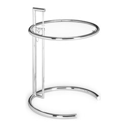Zuo Modern - Eileen Gray Side Table Clear Glass - One of the true modern classics, the Eileen Grey has a clear tempered glass top with a chromed steel tube frame and adjustable height.