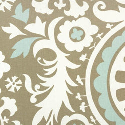Suzani Powder Blue Contemporary Drapery Fabric