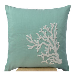 Beach Home - Teal white coral pillow
