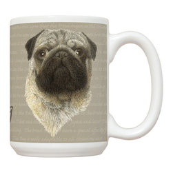 435-Pug Mug - 15 oz. Ceramic Mug. Dishwasher and microwave safe It has a large handle that's easy to hold.  Makes a great gift!