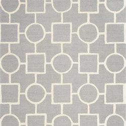 Safavieh - Safavieh Cambridge CAM143D 5' x 8' Silver, Ivory Rug - Bring classic style to your bedroom, living room, or home office with a richly-dimensional Safavieh Cambridge Rug. Artfully hand-tufted, these plush wool area rugs are crafted with plush and loop textures to highlight timeless motifs updated for today's homes in fashion colors.