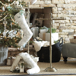 Ballard Designs - Maison Standing Stocking Holder - Also great for hand towels in the powder room. Weighted base to prevent tipping. Protective felt bottom. If you don't have a mantel, you can still hang your stockings for St. Nick to find. Our Maison Stocking Holder turns your family stockings into a festive display. Crafted of aluminum and iron with turned details and your choice of two dressy finishes.Standing Stocking Holder features: . . .