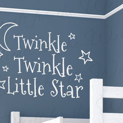 Decals for the Wall - Wall Decal Art Vinyl Sticker Quote Twinkle Twinkle Little Star Baby's Room B98 - This decal says ''Twinkle twinkle little star''
