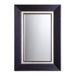Uttermost - Uttermost Undefined Decorative Mirror in MATTE BLACK - Shown in picture: This wood frame has a matte black finish with a silver leaf inner liner and a gray glaze. Mirror is beveled.  MATERIAL: WOOD+GESSO