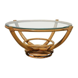 """Pre-owned Vintage Bamboo & Glass Swivel Coffee Table - A classic 1958 vintage pure """"Aloha"""" style coffee table. The table is constructed of triple wide 1"""" bamboo with herring-bone weave plaited joints and graceful bends. The coffee table features a deep beveled glass round top and it swivels for pure entertainment ease! This is a real conversation piece!    This is truly an """"aloha"""" piece, originally purchased in Kauai, Hawaii, and makes for an elegant tropical decor statement. This is an heirloom piece and has been in the seller's family for many years.    A matching recliner w/ ottoman, sofa, and end tables are available, listed separately. Please see seller's other listings."""