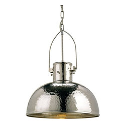 Currey & Company - Currey & Company Syllabus Pendant - The Syllabus Pendant, a restrained hanging dome light style, is unique for its simple hammered surface of Nickel-plated brass. Hand-finishing techniques give this refined piece its distinctive character.