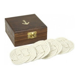 """Handcrafted Model Ships - Set of 4 - Rope Coasters with Anchor Box 4"""" - Our Rope Coasters with Rosewood Box 4"""" set help add a nautical flair to any room. Handcrafted by our master artisans, it is the ideal addition for any nautical enthusiasts and beach-lovers collection . Use the rope coaster set to arrange a nautical party, use to bring together a nautical centerpiece, or give as a nautical gift."""