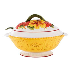 Fitz and Floyd - Fitz and Floyd Flower Market 3.5 qt. Tureen with Ladle - 29-945 - Shop for Bowls and Candy Dishes from Hayneedle.com! Serve soups and stews in Italian rustic style with the Fitz and Floyd Flower Market 3.5 qt. Tureen with Ladle a hand-painted artisan-pressed dish featuring a realistic pattern of parrot tulips and red hydrangeas. Crafted from quality earthenware this cheerfully colored dish has an ample 3.5-quart capacity and comes with a matching nature-inspired ladle.About Fitz and FloydFitz and Floyd is recognized worldwide as a leader amongst the style- and quality-conscious. For 50 years their unique designs have made them the leader in the purveyor of hand-painted ceramic dinnerware tableware accessories giftware and collectibles. All Fitz and Floyd pieces are easy to spot. Each piece is distinctively hand-crafted by artisans from the drawing board to the sculpting wheel and kiln.The company's Dallas-based studios are renowned for producing over 500 unique designs per year. Creations range from presidential dinnerware for the White House or a tea service for Her Majesty Queen Elizabeth II to the perfect centerpiece for your table and each design is lovingly crafted in the highest quality. Meticulous craftsmanship and exquisite detail make every Fitz and Floyd piece a treasured heirloom-quality gift.