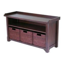 Winsome - Bench with Storage shelf and 3 Small Baskets - Elegant and versatile, this hall bench and baskets is perfect for entry way or mud room. 3 Wired baskets sturdy construction. Bench is made of solid wood finish in Walnut stain. Bench is ready to assemble.